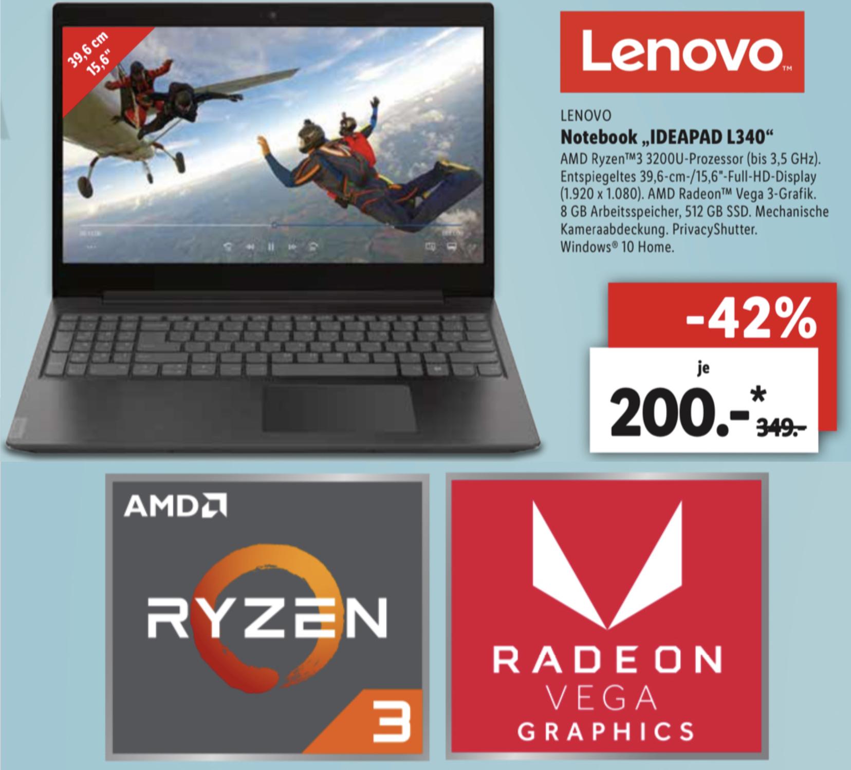 Lokal Lidl Bruchköbel: Lenovo IDEAPAD L340 Ryzen 3 3200U 512GB SSD Radeon Vega für 200€ / HP Pavillon x360 2in1 512GB SSD + Stift für 250€