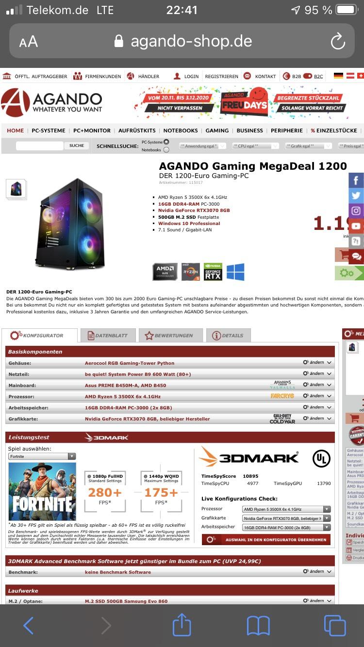 Agando Gaming PC Mit RTX 3070