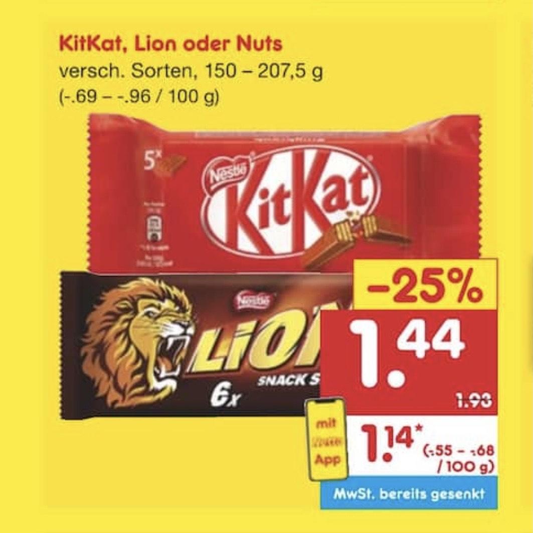 ab 30.11. bis 05.12. bei Netto & Netto App KitKat oder Lion je 5er/6er Pack für je 1,14€ = 150 - 207,5g Packungen