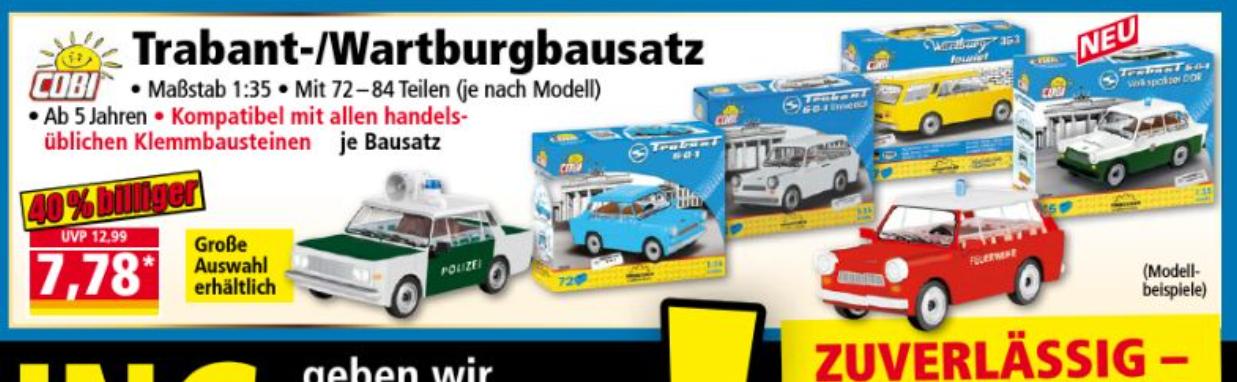 Cobi Trabant - gerade bei Norma in der Werbung - verschiedene Modelle