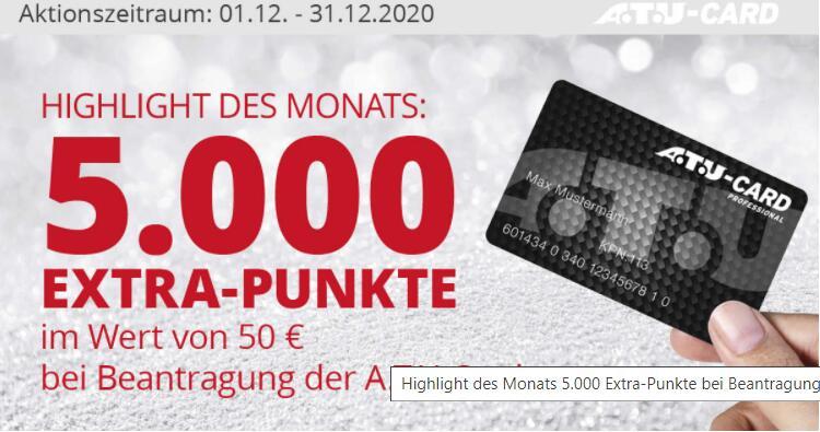 [ATU] Gratis 5.000 Bonuspunkte (50€) bei Beantragung von ATU Card (von 1.-31.12)