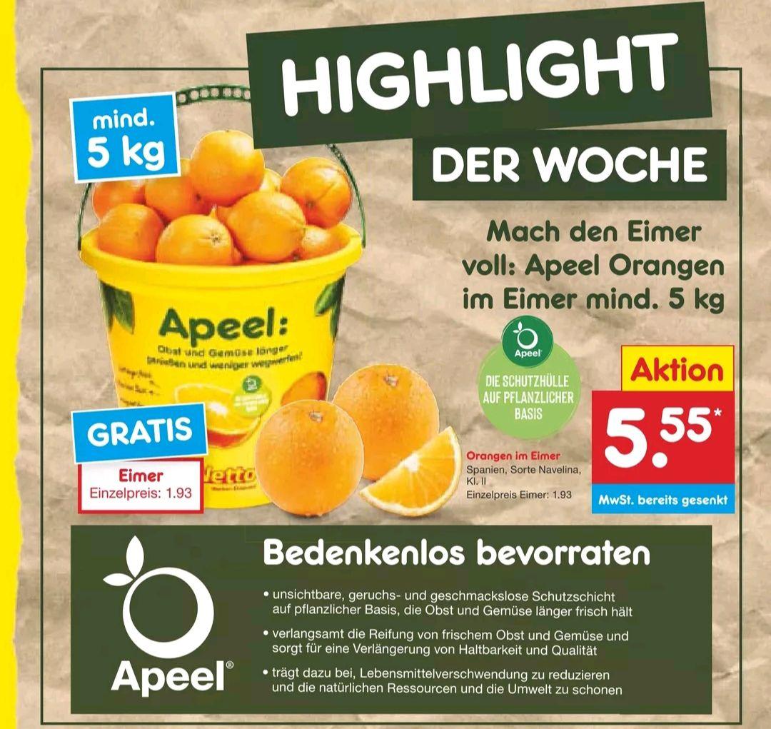 [Netto MD] mind. 5 kg Apeel Orangen (Spanien) inkl. Eimer für effektiv 4,44€