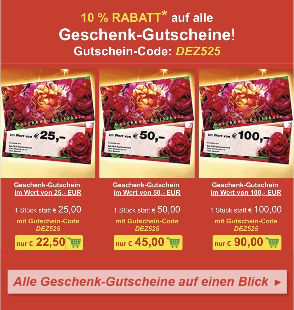 10 % RABATT auf ALLE Geschenk-Gutscheinkarten! z.B. 50€ für 45€