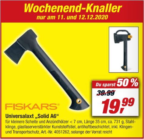 Fiskars Universalaxt Solid A6 für 19,99 Euro [Toom Baumarkt (11.12.-12.12.)]
