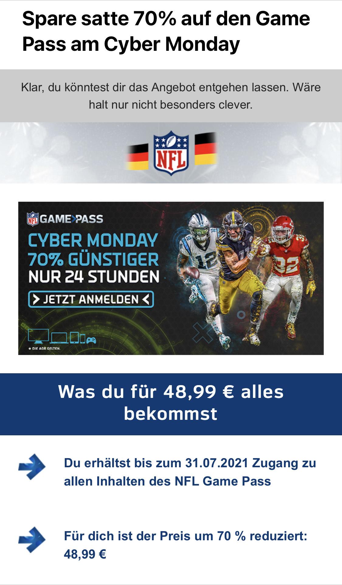 NFL Game Pass 70% reduziert