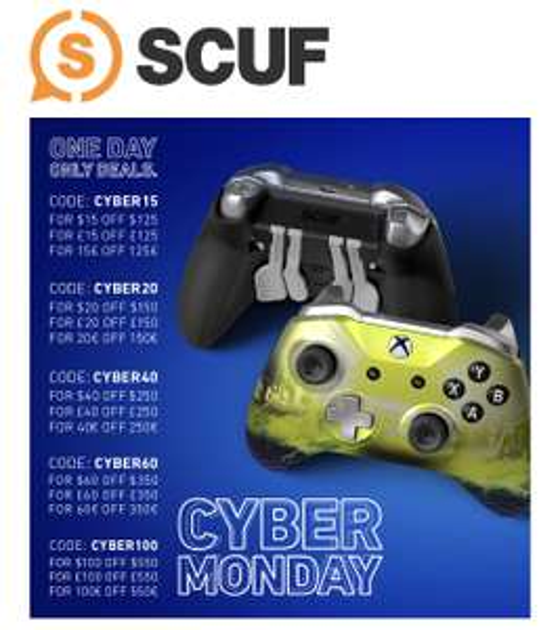 Scuf Gaming - Cyber Monday Deals - 15€ bis 100€ Rabatt