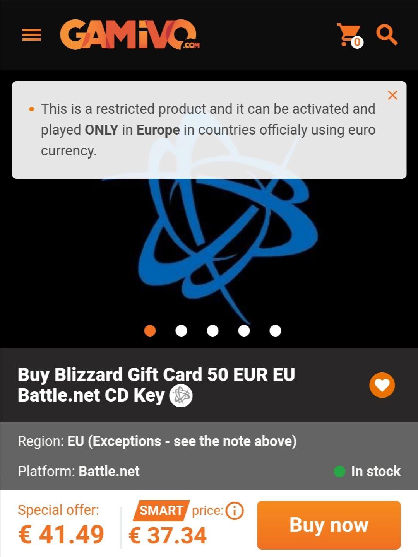 Blizzard Guthaben Gift Card 50 Euro für 39,42 Euro