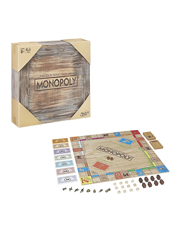 Monopoly Rustic, Sonderedition aus Holz, der Klassiker der Brettspiele Amazon Prime