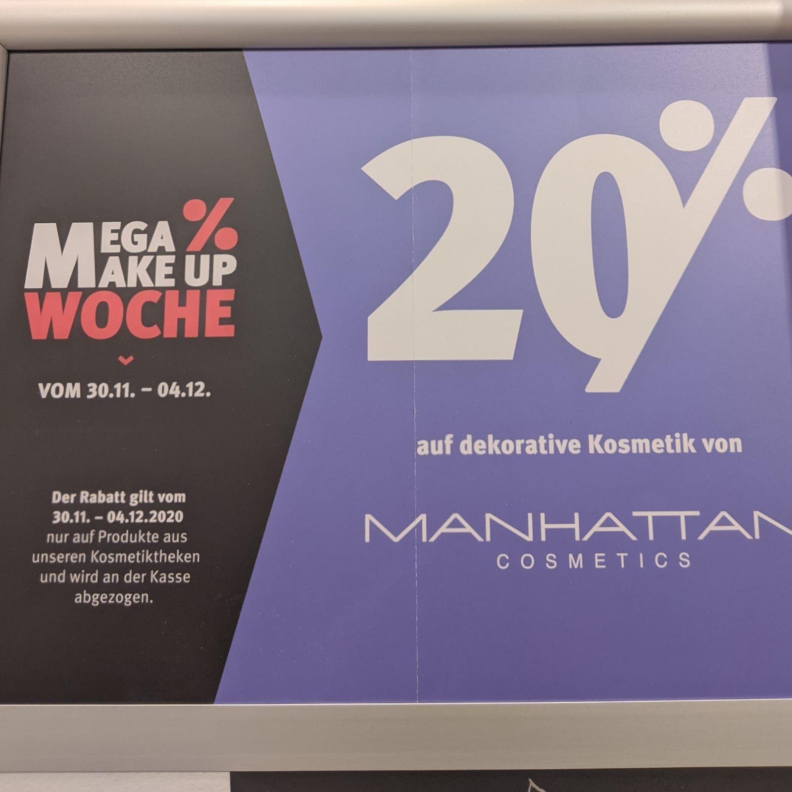 Rossmann: 20% auf dekorative Kosmetik von Manhattan