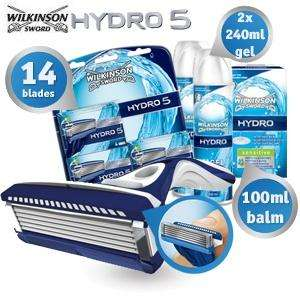 Wilkinson Sword Hydro5 mit 14 Klingen + 480ml gel + 100ml baslsam @ ibood
