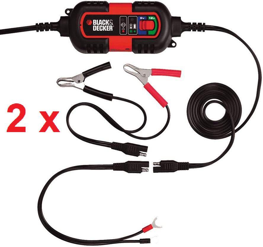 "2x Black & Decker Erhaltungsladegerät ""BDV090"" (Automatikladegerät 6 V / 12V, 1.2A) *Vorführgeräte in beschädigter OVP* [DEALCLUB]"