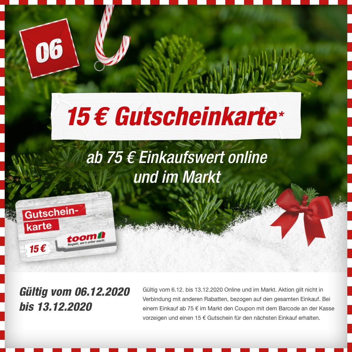 [toom online und im Markt] 15€ Gutscheinkarte geschenkt ab 75€ Einkauf // ab 19.12.: 10€ Rabatt ab 60€ MBW im Markt