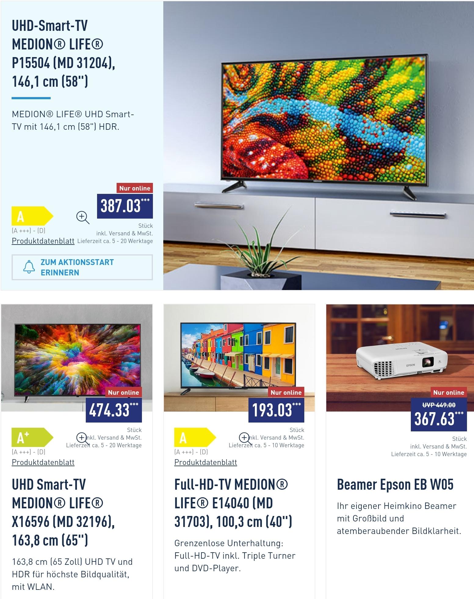 (Aldi Nord) UHD Smart-TV MEDION® LIFE® X16596 (MD 32196), 163,8 cm 65 Zoll (auch 58 Zoll für 387,03€ oder 40 Zoll für 193,03€) inkl. Versand