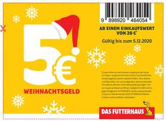 Futterhaus 5 € Rabatt ab 20 € MEW