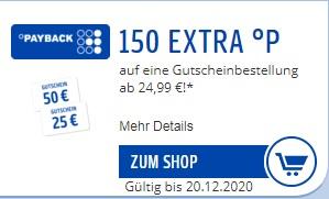 [Payback Prämienshop] 150 Extra Punkte für Prämienbestellungen ab 24,99€