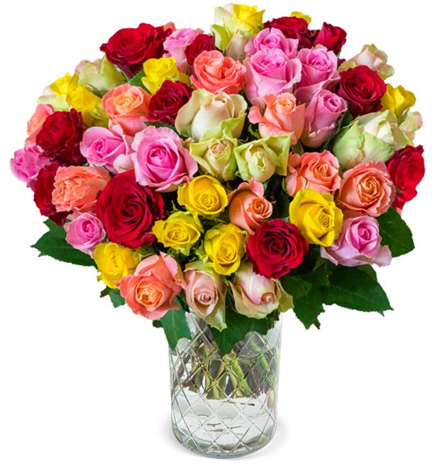 Rosenarrangement mit 41 frischen, bunten Rosen (50cm Länge, inkl. 7-Tage-Frischegarantie) für 25,98€