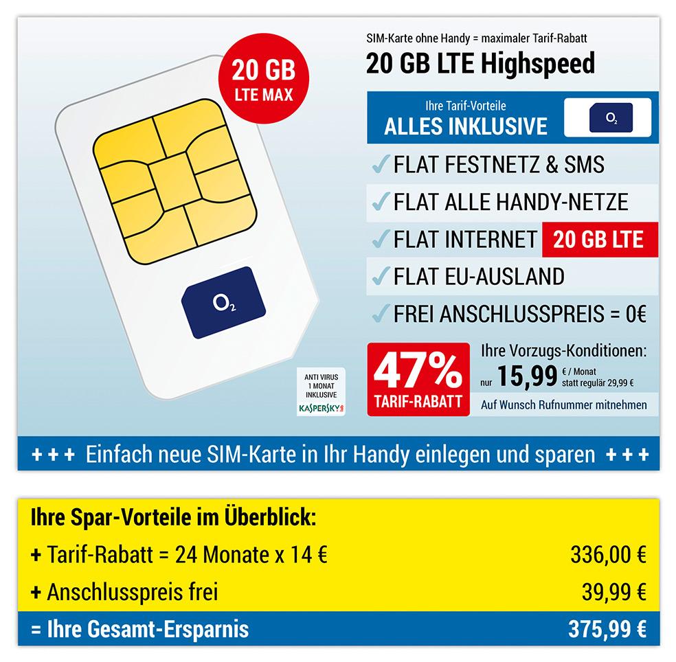 O2-Netz 24 Monatsvertrag 15,99€/Monat 20GB LTE MAX Telefon-&SMS-Flat