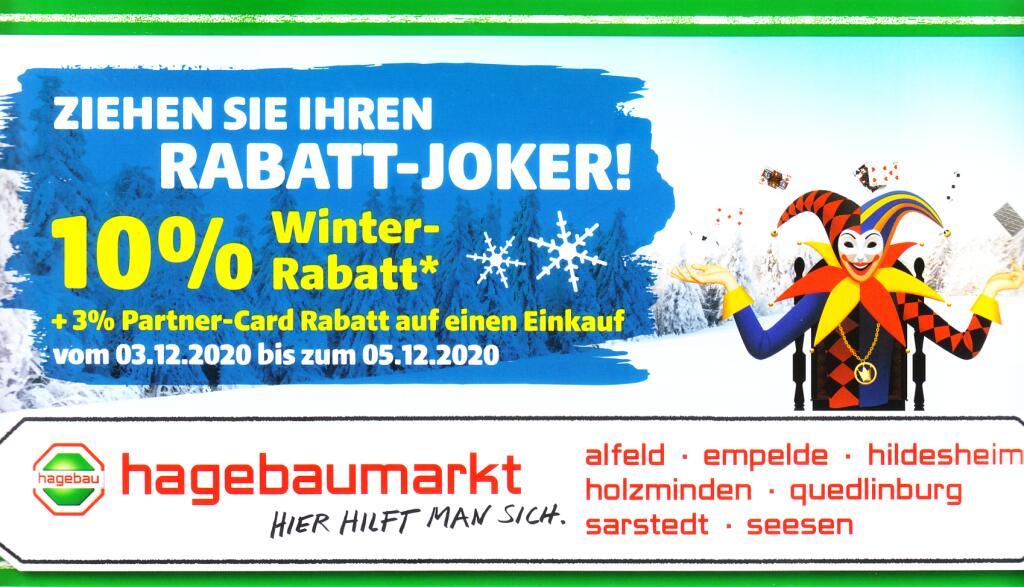 Hagebaumarkt: 10%(13%) Winter Rabatt, lokal? Alfeld-Hildesheim-Seesen-Sarstedt-Quedlinburg u.a.