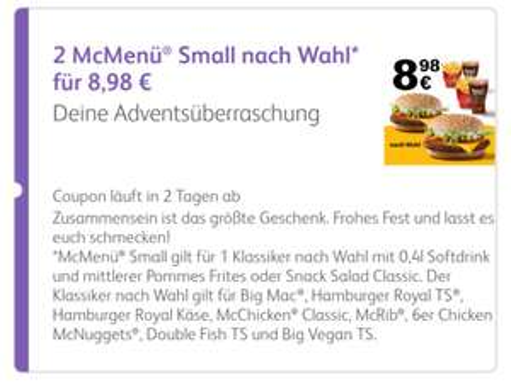 2x Klassiker McMenü Small für 8,98 [McDonalds App]