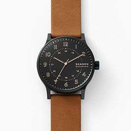 Skagen 70% Rabatt auf eine kleine Auswahl an Uhren mit Code - z.B. Norre Dreizeigeruhr aus braunem Leder jetzt €44.70 + Kostenlose Lieferung
