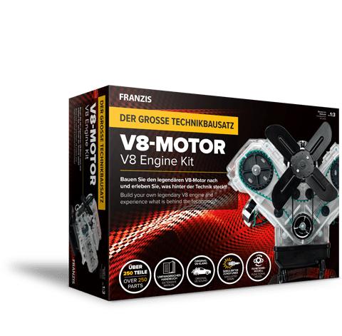 Franzis Lernpaket: V8-Motor (250 Bauteile + Handbuch, Soundmodul mit V8-Sound, transparentes Gehäuse, Lüfterrad, Simulierter Zündfunken)