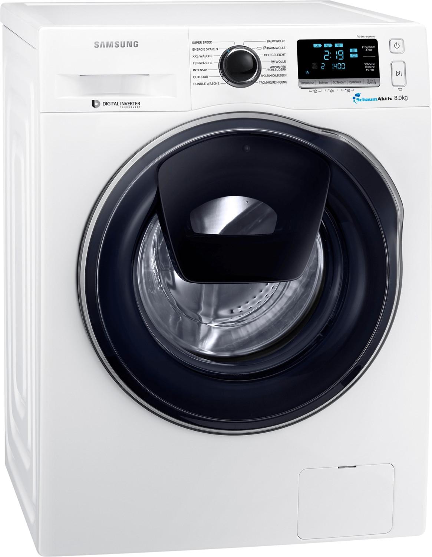 Samsung WW80K6404QW (A+++, 8kg, 1400U/min, Nachfüllklappe, Schaumerzeugung, AquaStop, Inverter-Motor, WLAN, App-Steuerung, 61kg)