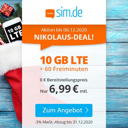 10GB LTE (50 Mbit/s) sim.de Tarif für mtl. 6,99€ mit 60 Freimin. + VoLTE & WLAN Call (3 Monate / 24 Monate; Telefonica-Netz)