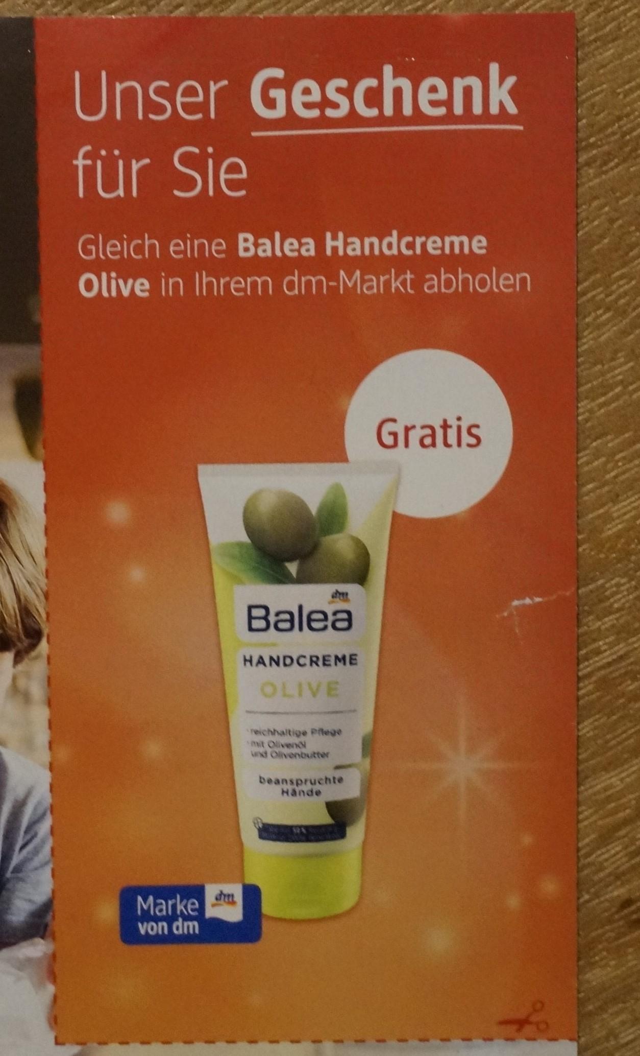 [dm] (Lokal ausgewählte Filialen) Gratis Balea Handcreme olive (100ml) im Wert von 0,85€ 09.12.20 bis 09.01.21
