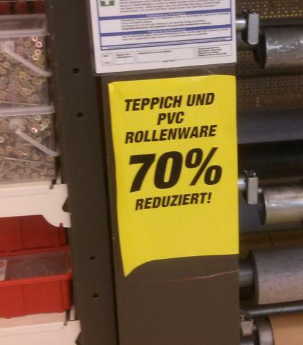 [Lokal] Toom Baumarkt  Rodgau/Dudenhofen Teppich und PVC Rollenware 70% reduziert