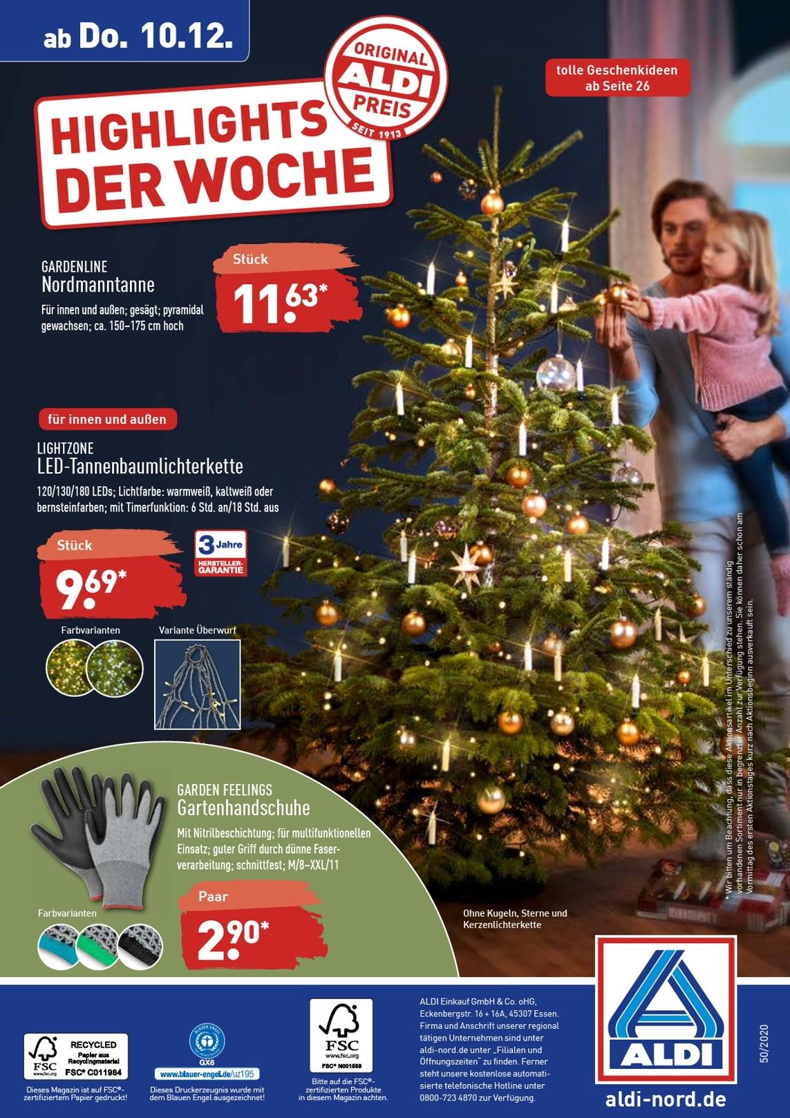 [ALDI Nord & Süd] Weihnachtsbaum Nordmanntanne 150-175cm
