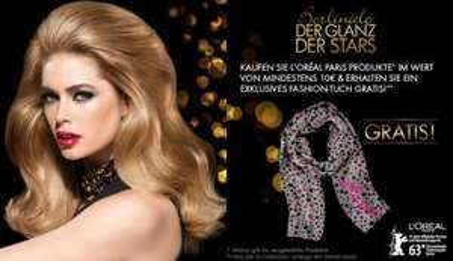 Amazon: Für 10,- Euro L'Oréal Produkte kaufen und gratis L'Oréal Paris Fashiontuch Berlinale im Wert von 14,95 erhalten