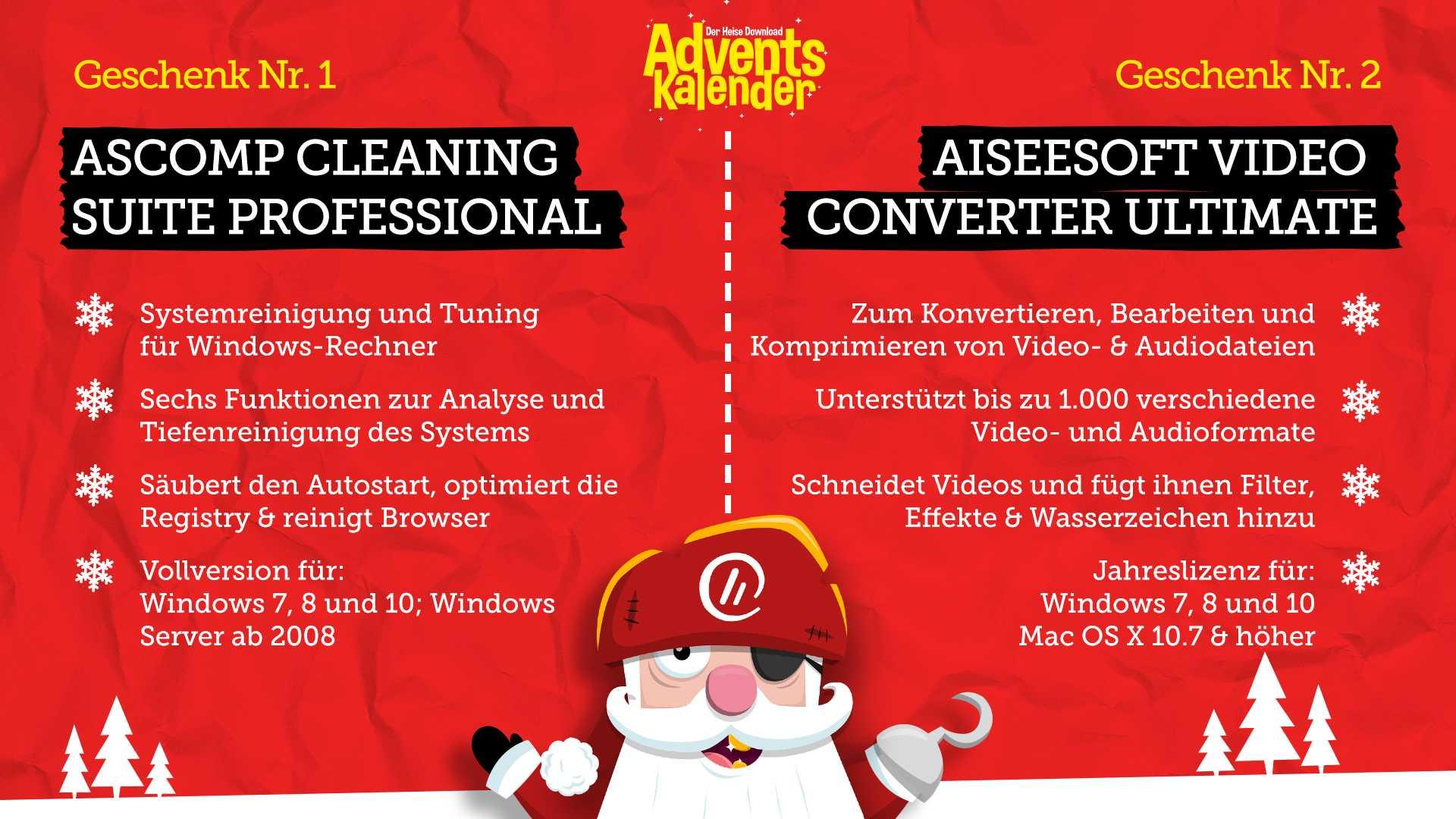 [Heise Adventskalender] ASCOMP Cleaning Suite Professional (Vollversion) + Aiseesoft Video Converter Ultimate (1-Jahres-Lizenz)