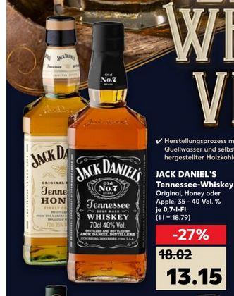 Jack Daniels Whiskey - Original, Honey oder Apple [Kaufland lokal?] / und mehr