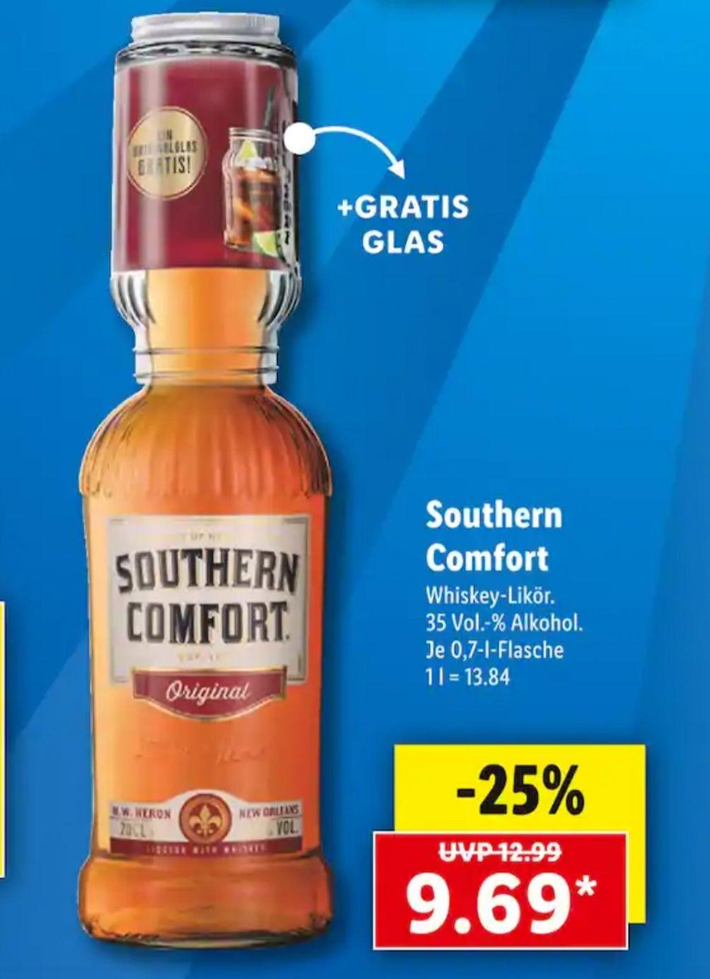 [Lidl] Southern Comfort 0,7l mit gratis Glas