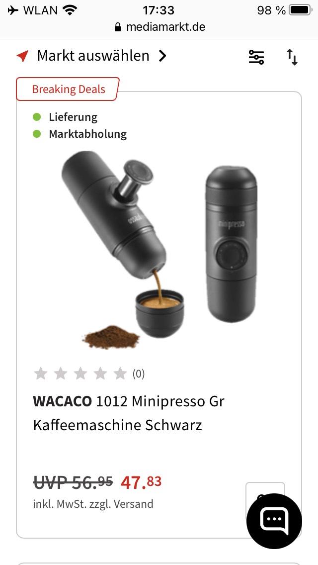 WACACO 1012 Minipresso Gr Kaffeemaschine Schwarz