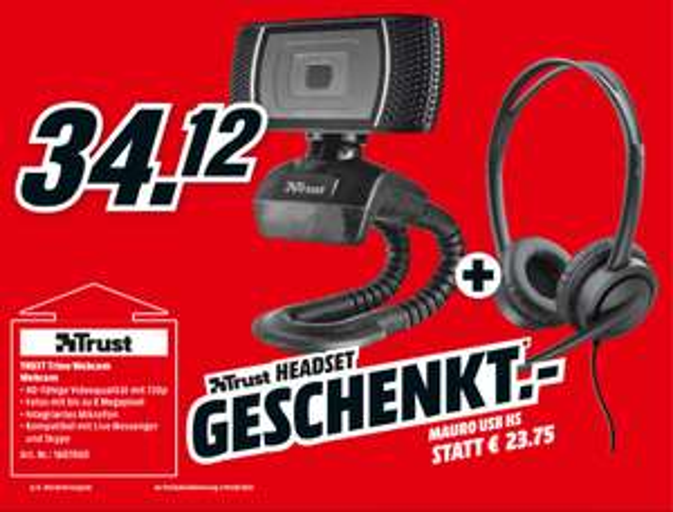 [Media Markt] Trust Trino Webcam inkl. Trust Headset
