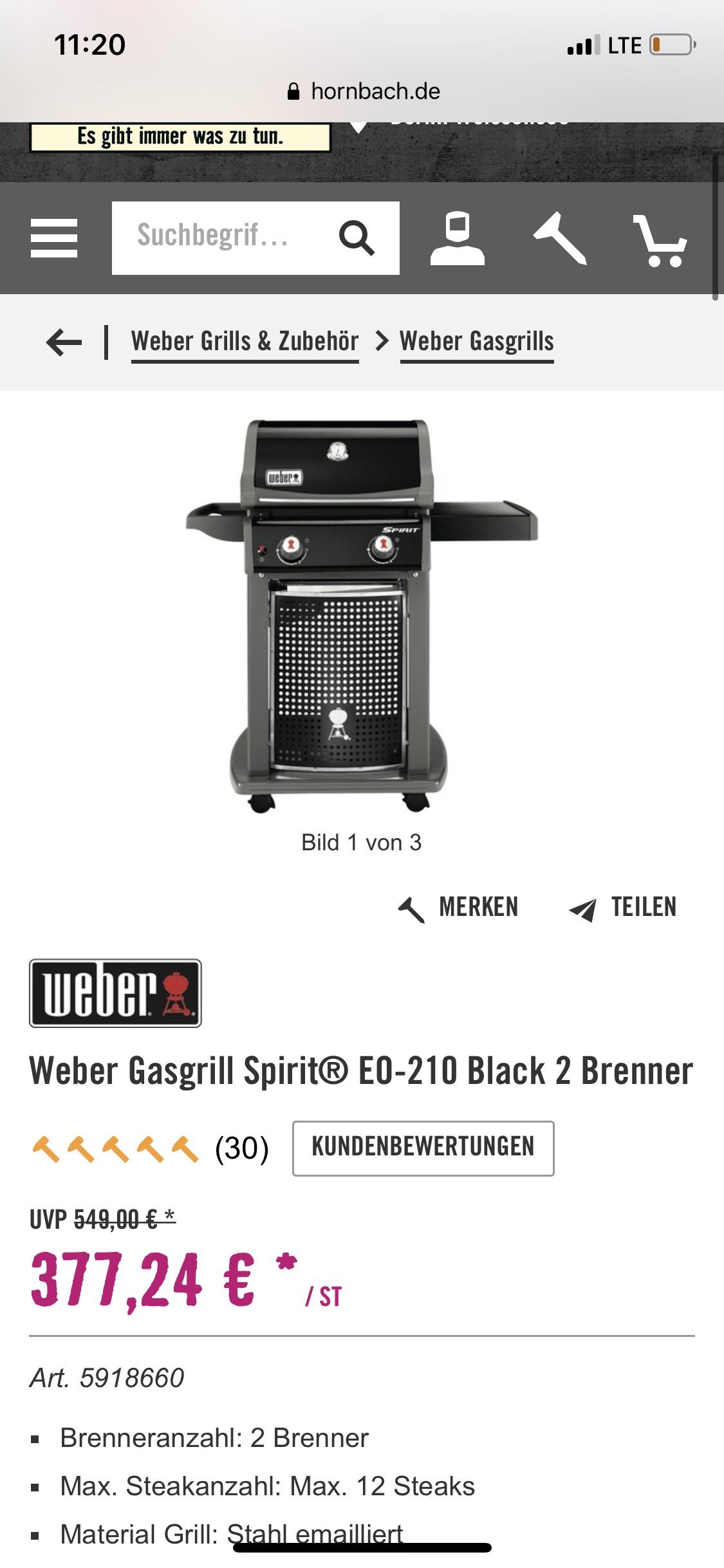 Hornbach Tiefpreisgarantie Weber Gasgrill Spirit EO-210
