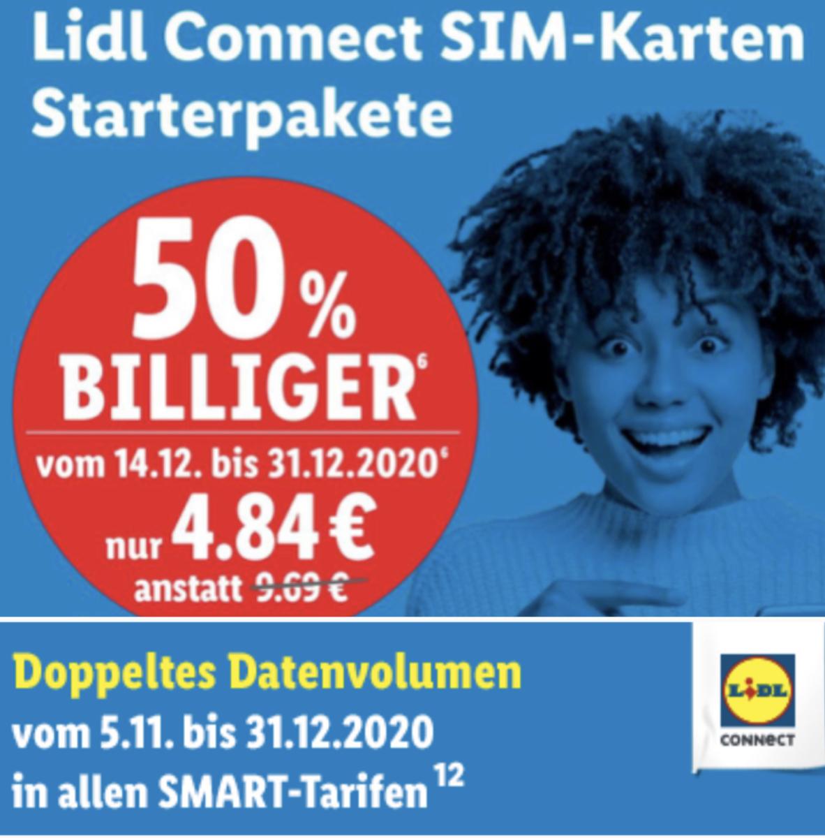 Lidl: 50% Rabatt auf Lidl Connect Starterpakete inkl. 10€ Startguthaben + Doppeltes Datenvolumen 3 x 4 Wochen / Online u. in den Filialen