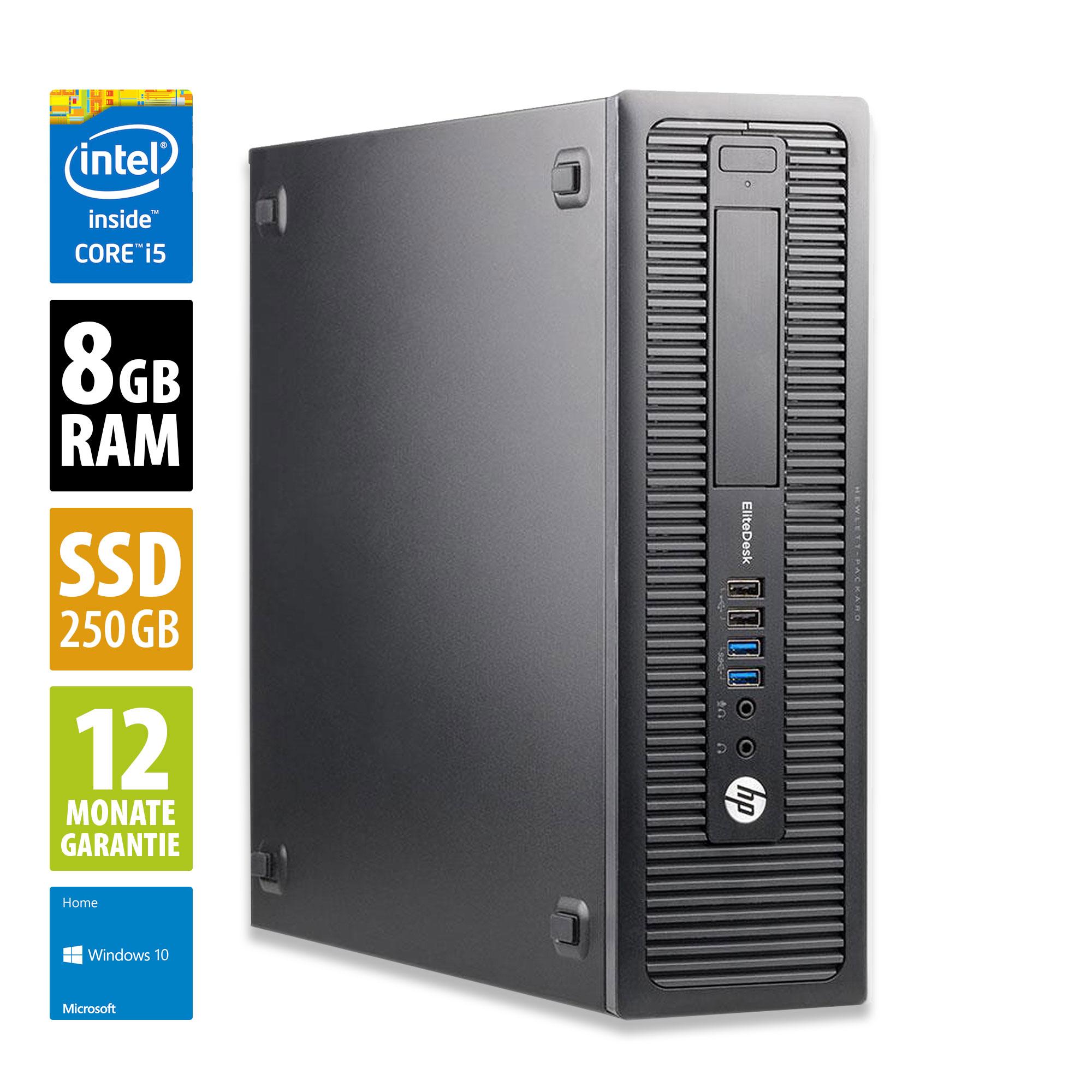HP EliteDesk 800 G1 SFF - Core i5-4570 @ 3,2 GHz - 8GB RAM - 250GB SSD - Win10Home