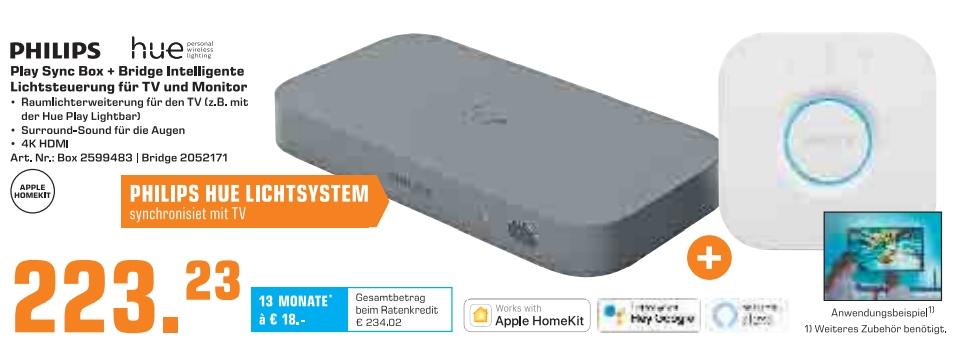 [Saturn ab 06.12-20.00Uhr] Philips Hue Play HDMI Sync Box + Hue Bridge ab 213,23€