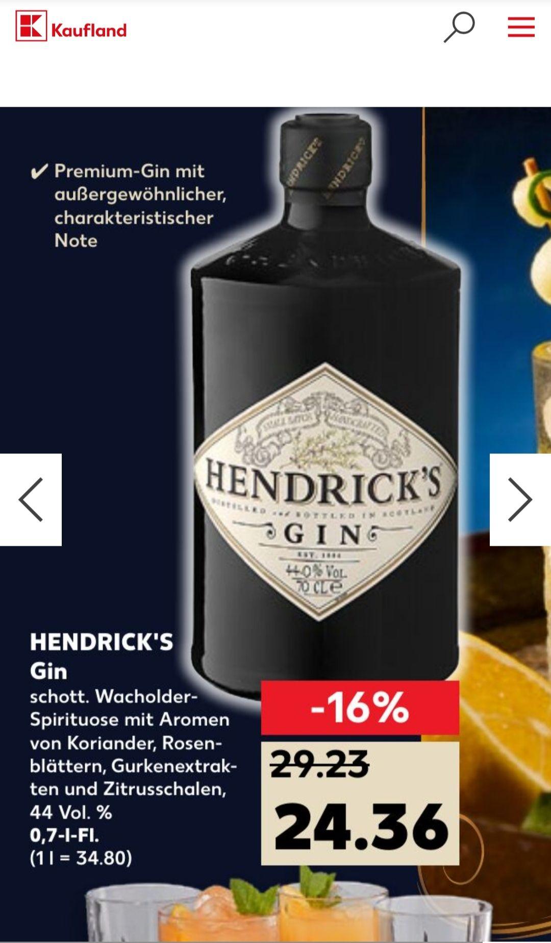 [Lokal/Kaufland/Jena] Hendrick's Gin 0,7l, 44% Vol.
