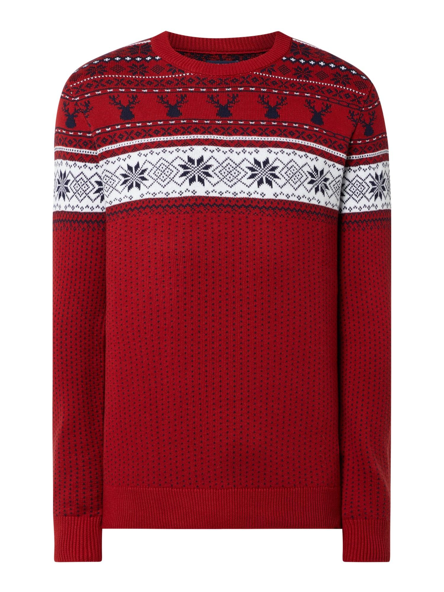 Weihnachtspullover 100% Baumwolle Gestrickt (auch in Dunkelgrün)