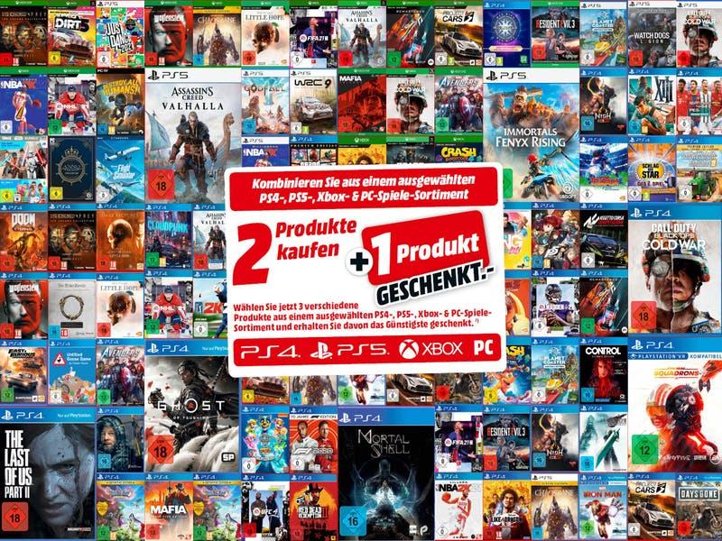 [MM & Amazon] 3-für-2-Aktion für ausgewählte PS4, PS5, Xbox, PC-Spiele: z.B. PS5 Assassin's Creed Valhalla+ CoD: Black Ops Cold War+ Godfall