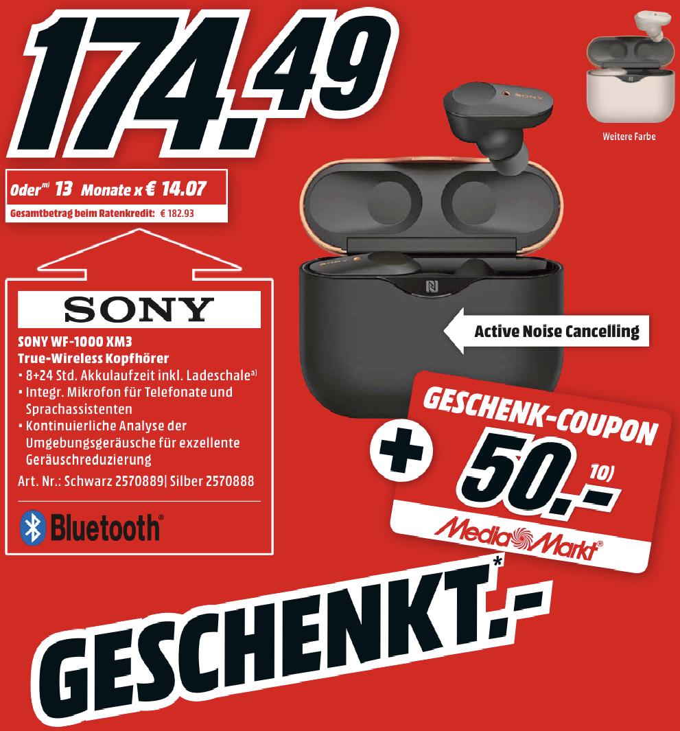 Sony WF-1000XM3 True Wireless Noise Cancelling Kopfhörer für 164,49€ inkl. 50€ Geschenk-Coupon!