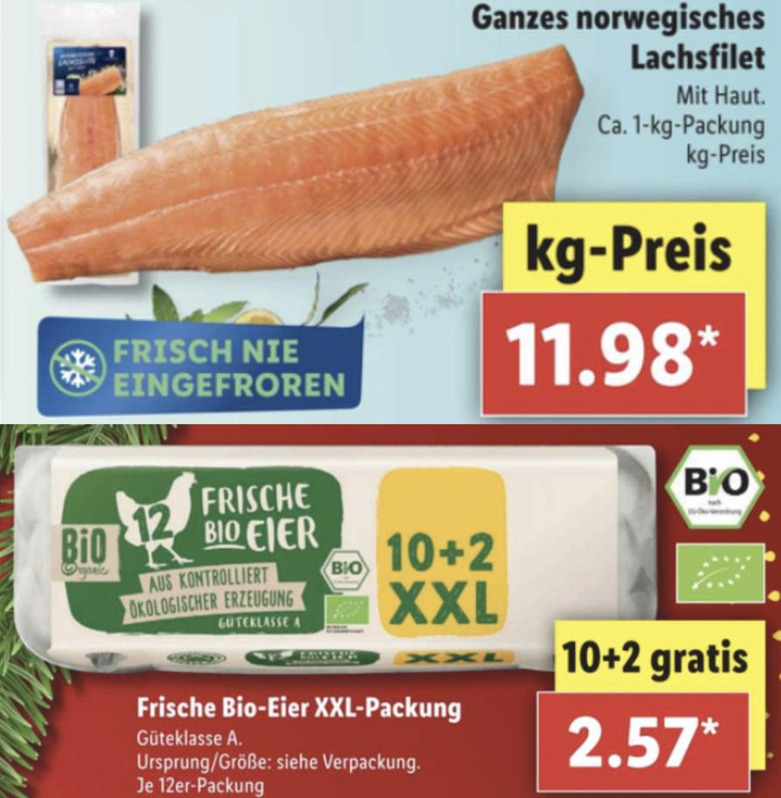 Bio Eier 10 + 2 XXL Packung für 2,57€ / Lachsfilet je kg 11,98€ / Heinz Ketchup 875ml Flasche für 1,69€ usw.