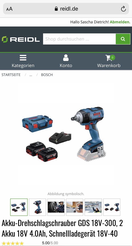 Bosch GDS 18V-300 2x 4AH Akku Ladegerät L-Boxx