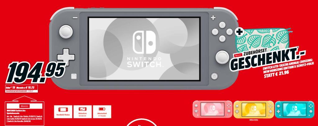 ab 07.12. NINTENDO Switch Lite inkl. Tasche (Animal Crossing Design)