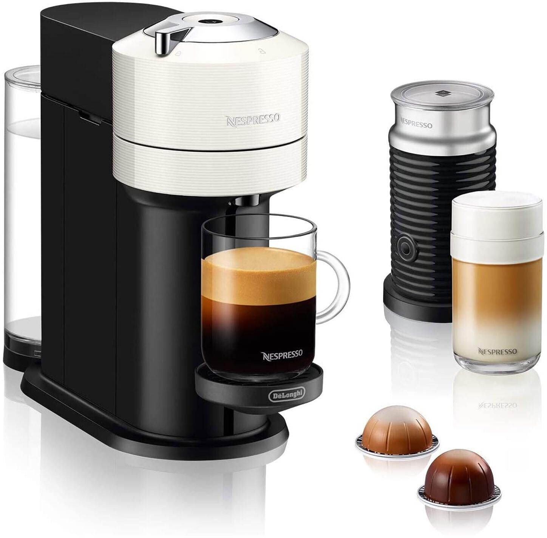 De'Longhi Nespresso Vertuo Next ENV120 Kapselmaschine Weiß/Schwarz + Nespresso Aeroccino Milchaufschäumer für 68,24€