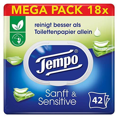 Tempo sanft&sensitiv feuchtes Toilettenpapier 6x Triopack (=18x) im Sparabo 1€ je 42er Packung