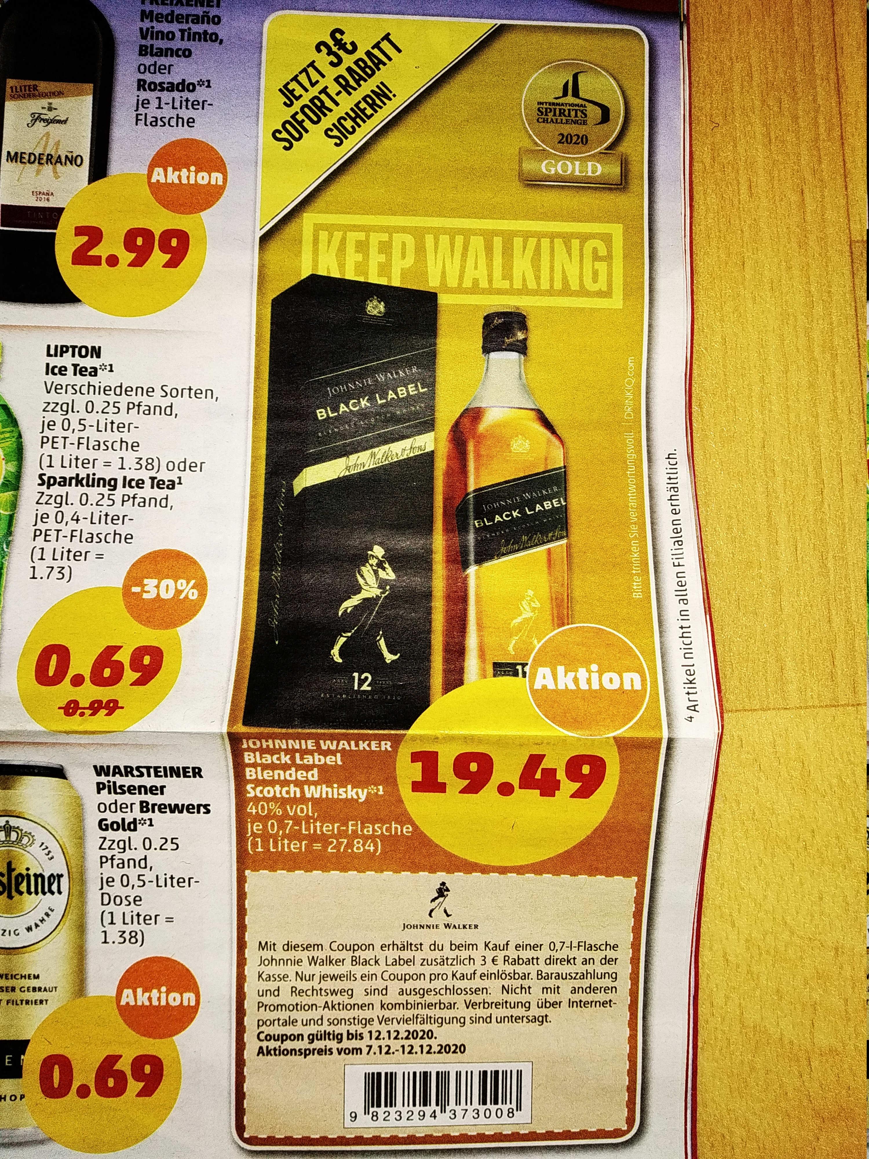 [Penny] Johnnie Walker Black Label 40% - 0,7L (lokal?)